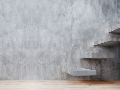 microcement wall and stairs
